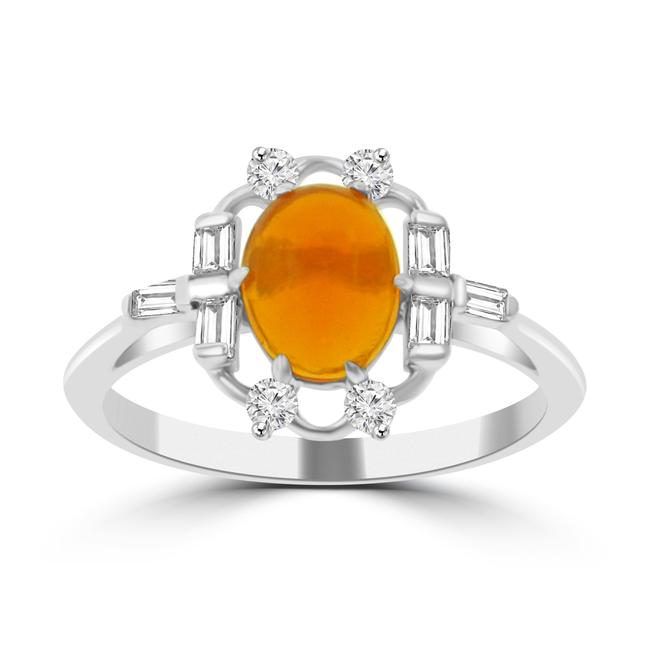 Item - 14k White Gold 1.05 Ct Ladies Round Cut Diamond& Mexican Fire Opal Anniversary Band Ring