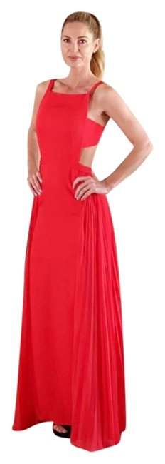 BCBGMAXAZRIA Vibrant Orange/Red Cut-out Long Night Out Dress Size 2 (XS) BCBGMAXAZRIA Vibrant Orange/Red Cut-out Long Night Out Dress Size 2 (XS) Image 1