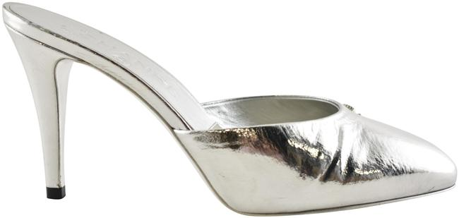 Item - Silver 19c Metallic Goatskin Cc Logo Backless Mule Slide Heel Sandal Pumps Size EU 40.5 (Approx. US 10.5) Regular (M, B)