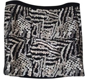 Theory Skirt Black Silk With Metallic Gray Sequins