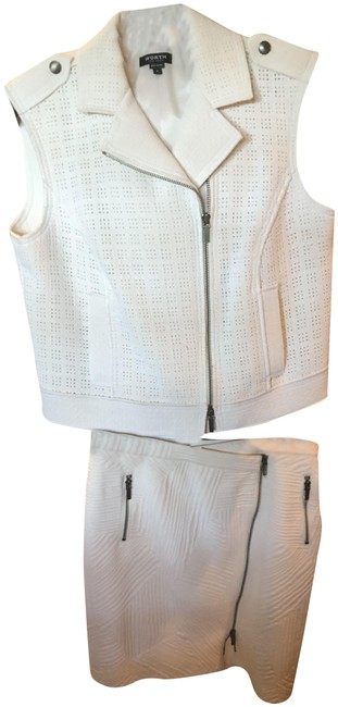 Item - Eggshell Leaf Jacquard Zip and Matching Vest Top Skirt Suit Size 8 (M)