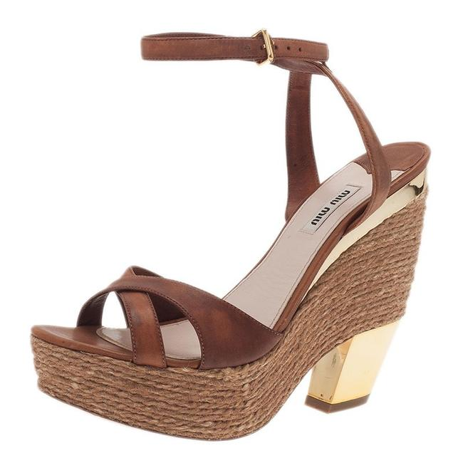 Item - Brown Strappy Espadrille Platform Sandals Size US 9 Regular (M, B)