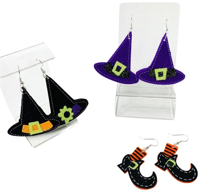 Item - Black & Purple 3 Sets Of Happy Halloween Felt Earrings