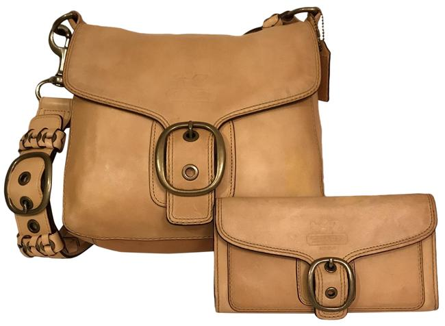 Item - Bleeker Legacy Flap Tatersall Distressed 11419 & Wallet Mustard Yellow Beige Gold Leather Shoulder Bag
