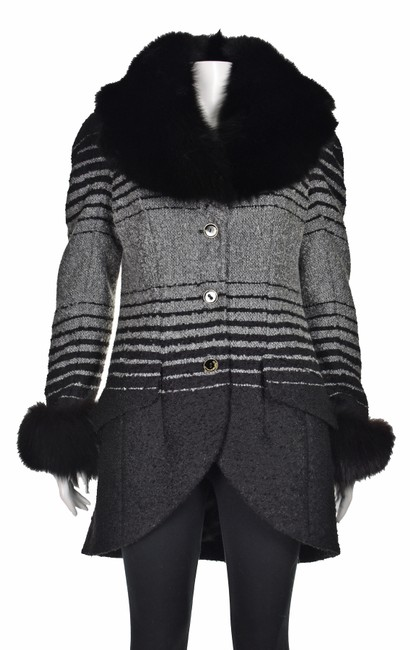 Item - Black & Gray Mohair Wool and Fox Coat Size 10 (M)
