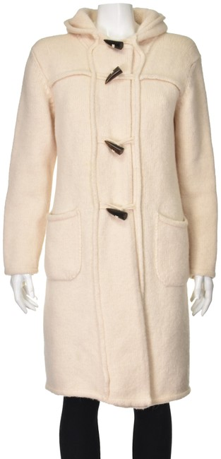 Item - Ivory Alpaca and Wool Blend Knit Toggle Coat Size 8 (M)