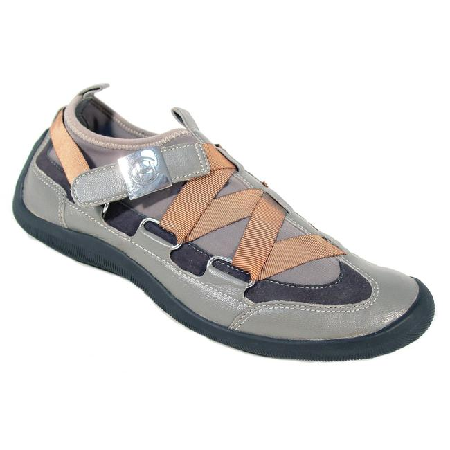 Item - Grey Cross Strap Leather Slip-on Women's Sneakers Size US 6 Regular (M, B)