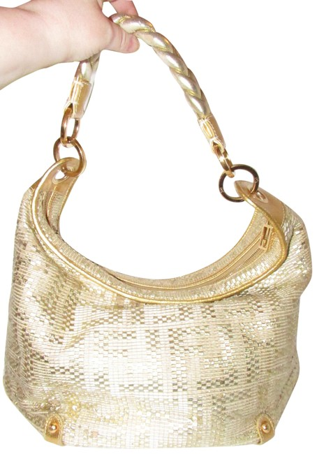 Item - Shoulder XL W Zucca Design Gold Leather with Woven F Logo Hobo Bag
