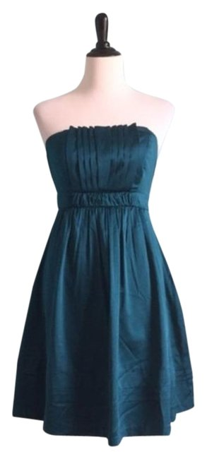The Limited Teal Satin Strapless Short Night Out Dress Size 4 (S) The Limited Teal Satin Strapless Short Night Out Dress Size 4 (S) Image 1