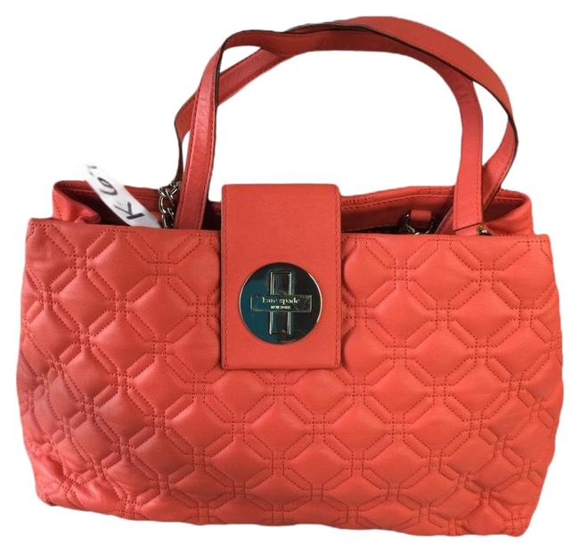 Item - New York Astor Court Elena Persimmon Red Lambskin Leather Tote