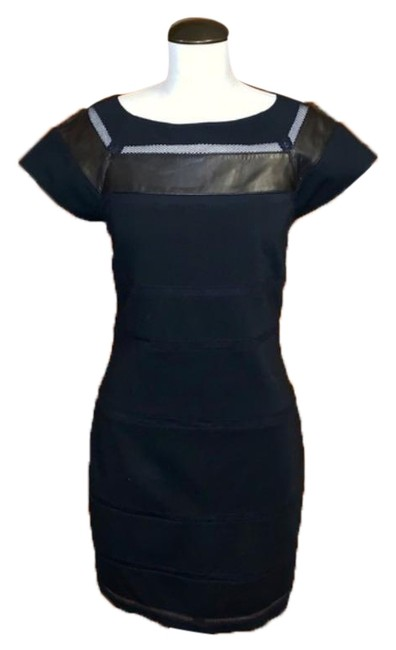 Item - Black Leather Trimmed Sheath Short Work/Office Dress Size 6 (S)