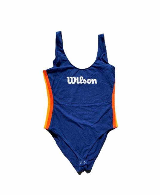 Item - Blue & Orange Wilson Striped-trim Logo Bodysuit One-piece Bathing Suit Size 10 (M)
