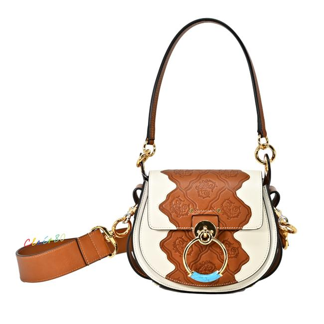 Item - Small Tess Croc-embossed Saddle Natural White Leather Cross Body Bag