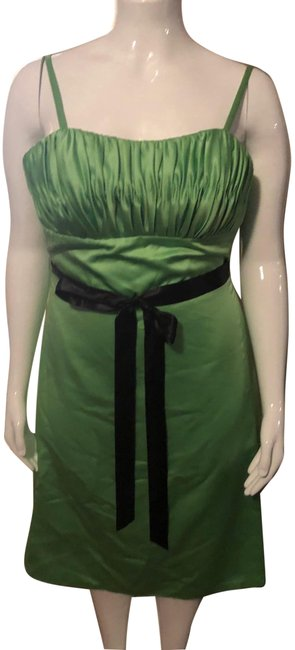 Item - Green with Black Tie Mid-length Cocktail Dress Size 14 (L)