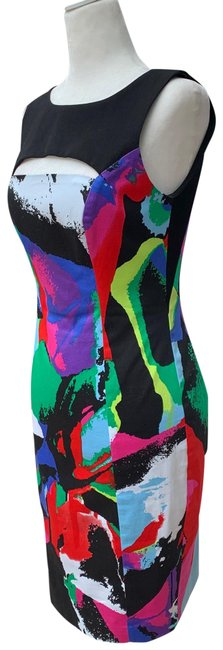 Item - Multi Color Print Sheath Mid-length Cocktail Dress Size 2 (XS)