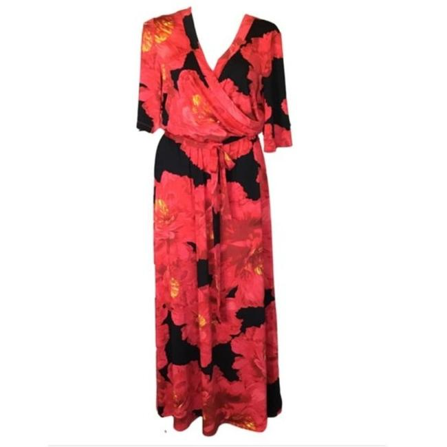 Olivia Matthews Red Black Floral Long Casual Maxi Dress Size 22 (Plus 2x) Olivia Matthews Red Black Floral Long Casual Maxi Dress Size 22 (Plus 2x) Image 1