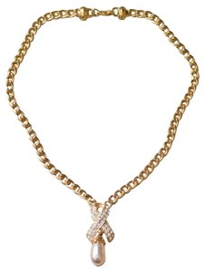Ivana Trump Ivana Trump Gold Toned Necklace With Faux Pearl And Rhinestones In Box