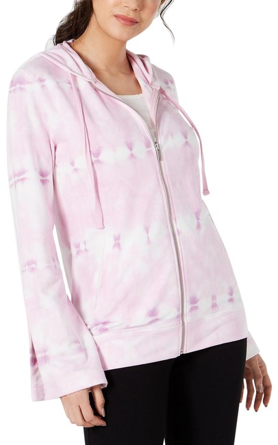 Item - Pink Tie-dyed Bell Sleeve Full Zip Activewear Outerwear Size 10 (M)