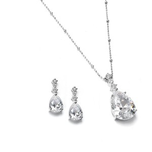 Silver Or Maids Pear Shaped Cz Drop/Necklace and Earring Set Necklace