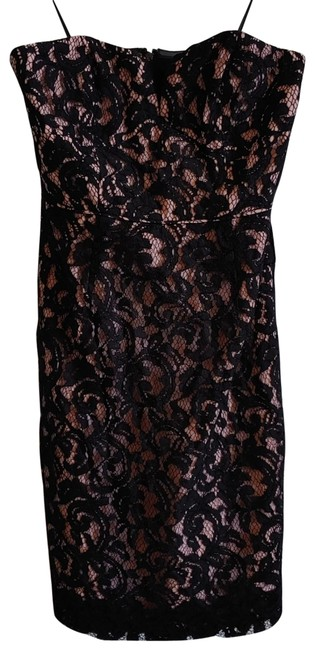 Item - Black Pink Lace Strapless Mid-length Cocktail Dress Size 2 (XS)