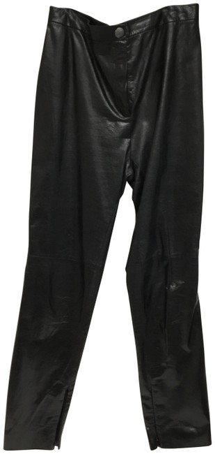 Item - Black Leather with Silver Zipper Stitching Pants Size 4 (S, 27)