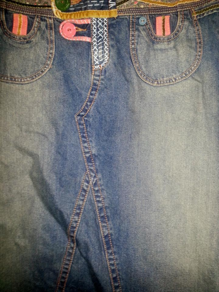 CAbi Blue Denim By Carol Anderson Boho Long Jean A-line Modest Flared Full  Skirt Size 14 (L, 34) 70% off retail