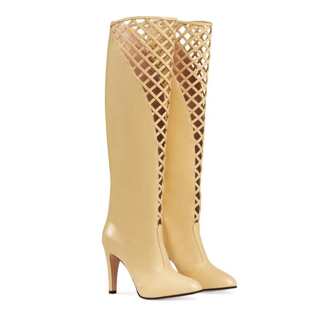 Item - Yellow Leather Cutout Knee-high Boots/Booties Size US 4 Regular (M, B)