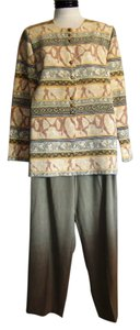 Sag Harbor Ladies SAG HARBOR Green & Brown Geometric Floral Print 2pc BLAZER JACKET PANT SUIT