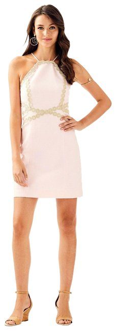 Item - Pink and Gold Pearl Shift Short Cocktail Dress Size 00 (XXS)