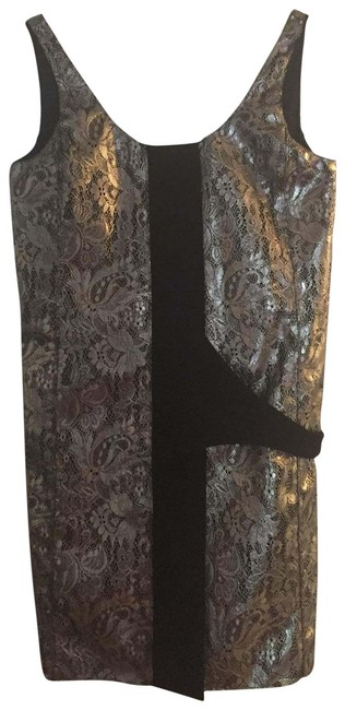 Item - Black& Silver Sleeveless Silk & Metallic Lace Short Cocktail Dress Size 6 (S)
