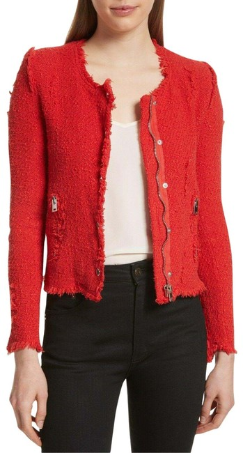 Item - Red Agnette Distressed Tweed Women's Jacket Size 10 (M)