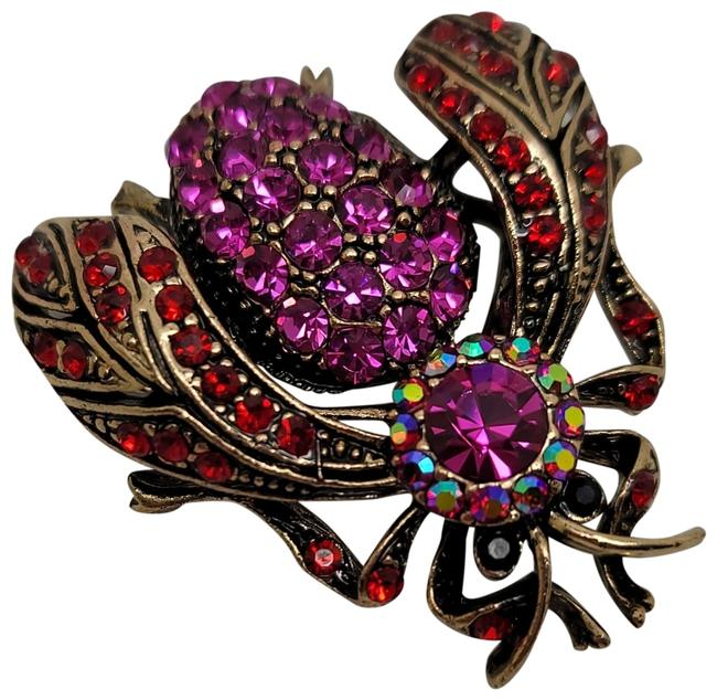 Item - Pink Red New Round Multi-colored Austrian Crystal Bug Brooch Pin