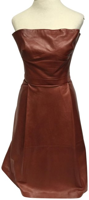 Item - Rust Leather Strapless Short Night Out Dress Size 2 (XS)