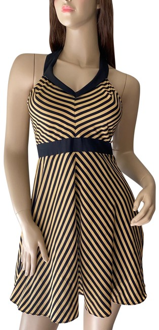 Minuet Black & Yellow Mustard Striped Fit Flare Short Casual Dress Size 4 (S) Minuet Black & Yellow Mustard Striped Fit Flare Short Casual Dress Size 4 (S) Image 1