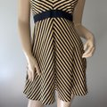 Minuet Black & Yellow Mustard Striped Fit Flare Short Casual Dress Size 4 (S) Minuet Black & Yellow Mustard Striped Fit Flare Short Casual Dress Size 4 (S) Image 6