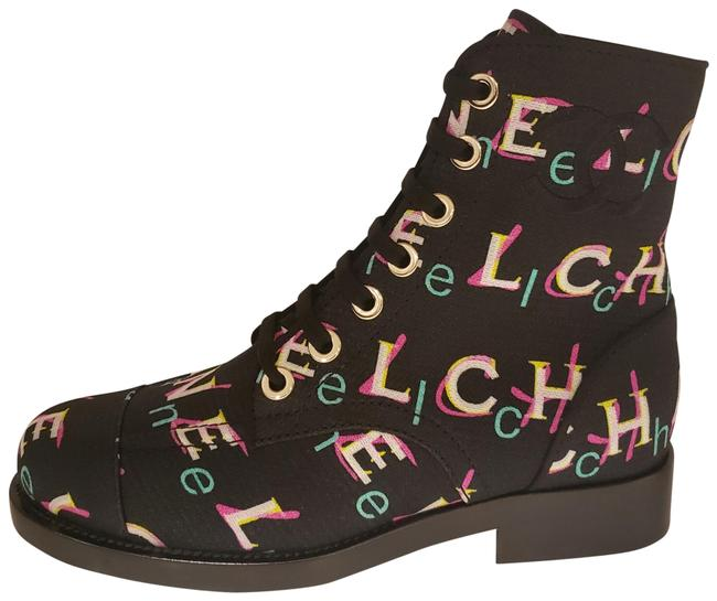 Item - Black/Multi 19p Signature Painted Printed Tweed Lace Up Combat Flat Boots/Booties Size EU 37 (Approx. US 7) Regular (M, B)
