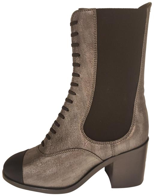 Item - Black/Multi 19c Stretch Laminated Lambskin Leather Gored Lace Up Boots/Booties Size EU 36.5 (Approx. US 6.5) Regular (M, B)