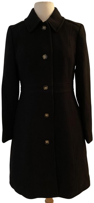 Item - Black Classic Lady Day In Italian Double-cloth Wool. Coat Size Petite 10 (M)