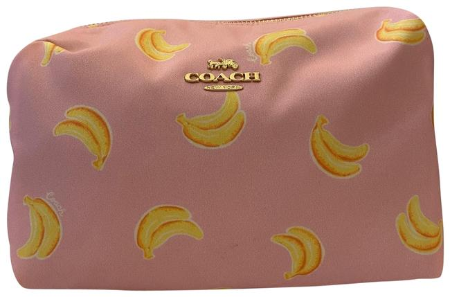 Item - Pink/Yellow Large Boxy with Banana Print Cosmetic Bag