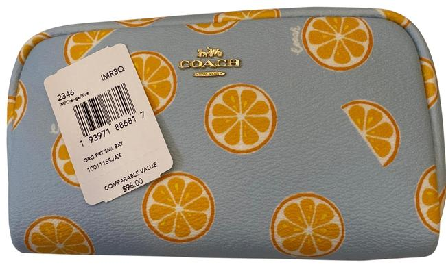 Item - Blue/Orange Small Boxy with Print Cosmetic Bag