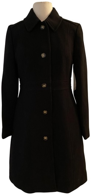 Item - Black Classic Lady Day In Italian Double-cloth Wool. Coat Size Petite 12 (L)