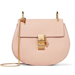 Item - Drew Small Textured-leather Cement Pink Lambskin Leather Shoulder Bag