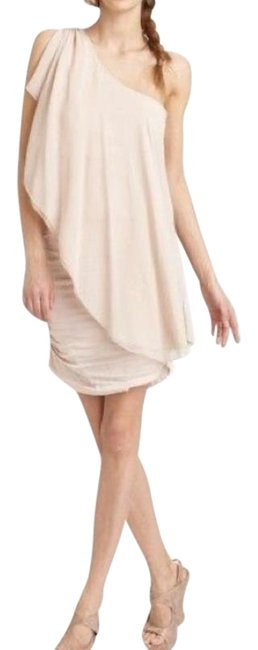 Item - Beige Nude One Shoulder Draped Mini Short Cocktail Dress Size 4 (S)