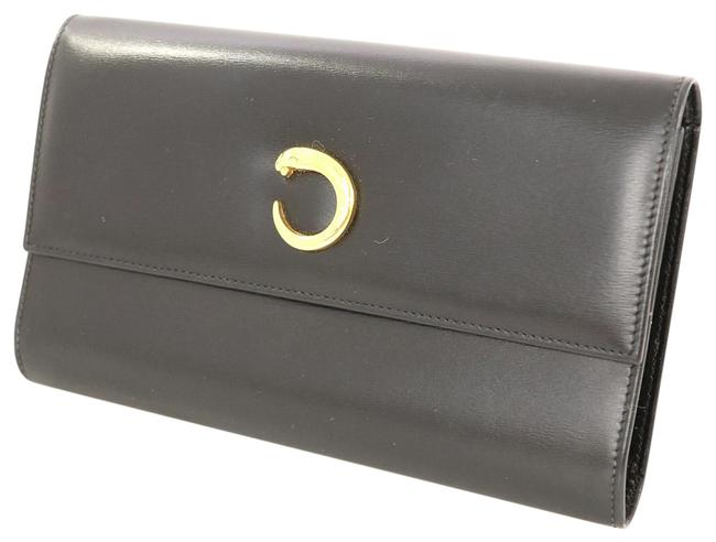 Cartier Black / Gold Leather Tri-fold Long Wallet Cartier Black / Gold Leather Tri-fold Long Wallet Image 1