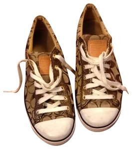 Coach Canvas Gold, White, Brown, Tan Athletic