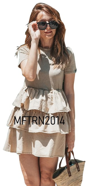 Item - Beige With Ruffles Short Casual Dress Size 4 (S)