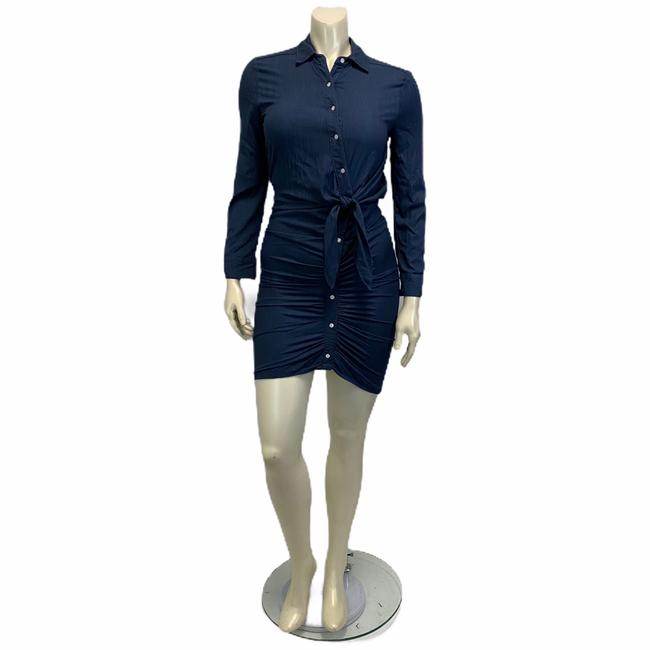 Item - Blue Button Up Twisted Front Ruched Button Up Short Casual Dress Size 2 (XS)
