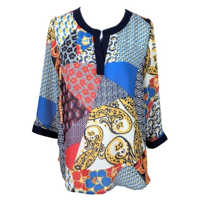 Item - Blue Red Large White Tunic Size 12 (L)