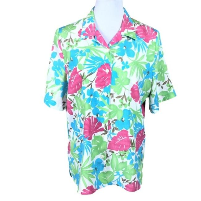 Item - Blue Pink White Green Floral Short Sleeve Blouse Size 12 (L)