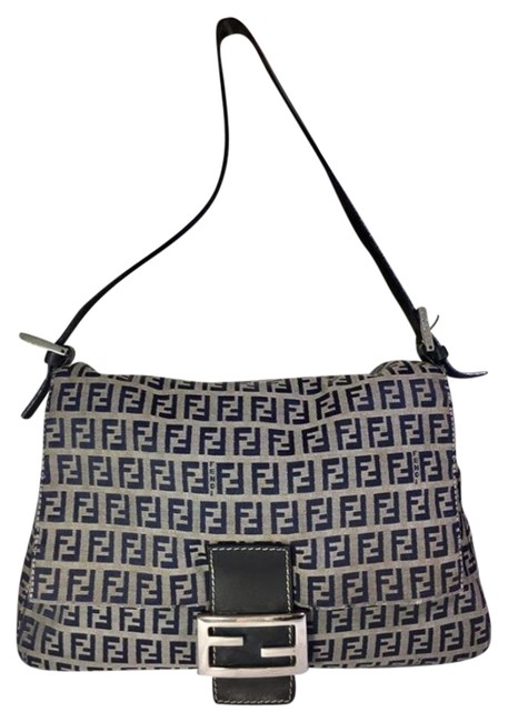 Item - W Mamma Forever Canvas/Leather Chrome Ff Navy Zucchino Print On Grey Canvas & Leather Shoulder Bag